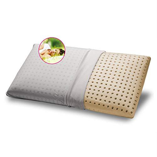 GEEMMA s.r.l. Cojín 100% látex 40 x 70 cm H12 cm Almohada para cama modelo jabón con tejido de algodón desenfundable y lavable almohada colchón hipoalergénico - Milk