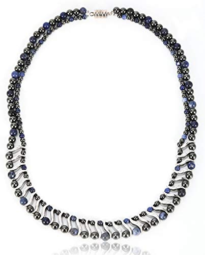 Elegant Womens Hematite Magnetic Therapy Necklace with Healing Stones Pain Relief for Neck Arthritis Migraine Headaches Shoulders and Back (Regular, Sodalite)