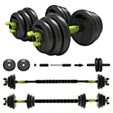 ER KANG 3 in 1 Adjustable Dumbbell Set, 44lbs Free Weights Fitness Dumbbells with Connecting Rod Used As Barbell, Ab Roller Wheel for Home Gym, Workout, Whole Body Training (1 Pair/Set)