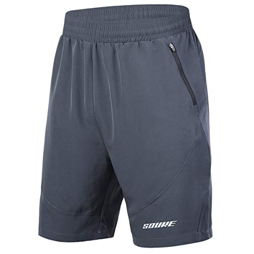 Souke Sports Men's Workout Running Shorts Quick Dry Athletic Performance Shorts Black Liner Zip Pockets