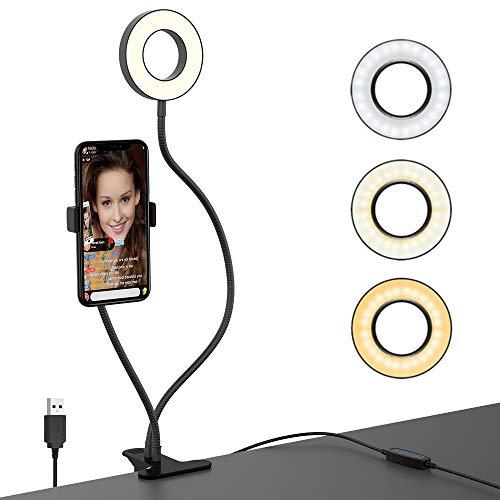 luz para Grabar Videos, GeeRic USB Anillo de Luz LED aro de
