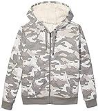 Amazon Essentials Men's Sherpa Lined Full-Zip Hooded Fleece Sweatshirt, Grey Camo, X-Large