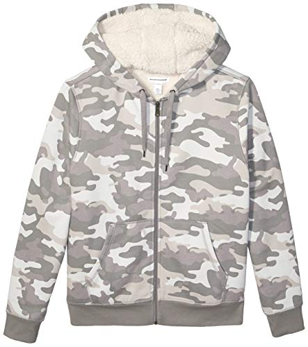 Amazon Essentials Men's Sherpa Lined Full-Zip Hooded Fleece Sweatshirt, Grey Camo, Medium