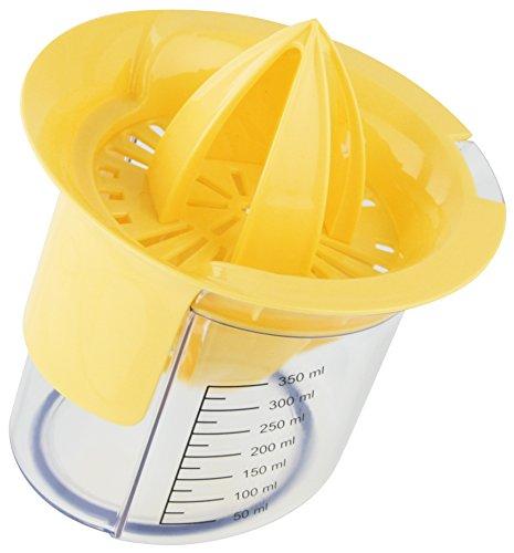 Fackelmann Doppel-Zitrusfruchtpresse, ergonomische Zitronen- und Orangenfruchtpresse mit Auffangbehälter (Farbe: Gelb/Transparent), Menge: 1 Stück
