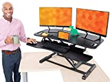 """Flexpro Hero Corner Standing Desk Converter 37 Inch   Great for Cubicles & L-Shaped Desks   2 Level Sit to Stand Workspace with Keyboard Shelf & Monitor Riser   Easily Sit or Stand (Black / 37"""")"""