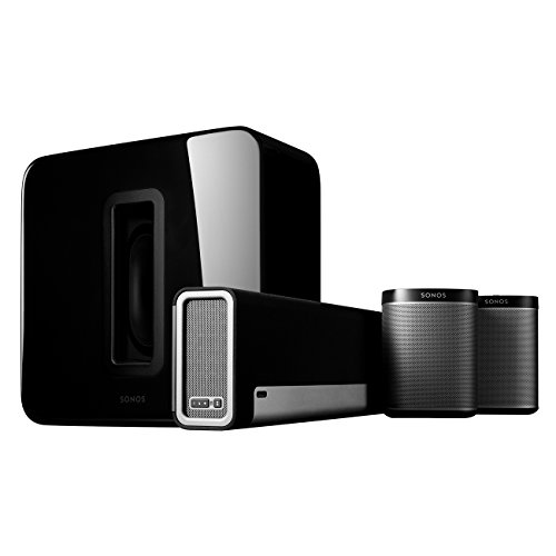 Sonos 5.1 Home Theater System – Surround Sound System with Playbase, Sub and a set of two Play:1 Smart Speakers for TVs on stands or other furniture. Works with Alexa. (Black)