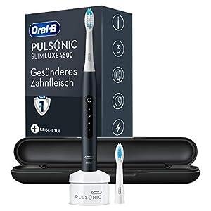 immagine di Braun Oral-B 4210201305736 Pulsonic Slim Luxe 4500 - Spazzolino elettrico sonico per gengive più sane in 4 settimane, con programma Sensitive, custodia da viaggio Premium, colore: Nero