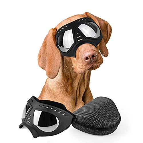 PETLESO Dog Goggles- Large Breed Dog Sunglasses Dog Eye Protection for Outdoor Driving Cycling, Black