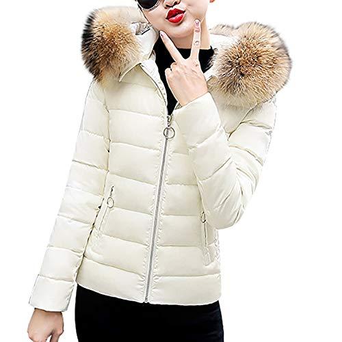 Trisee Damen Herbst Winter Outwear Große Größe Kapuzenpullover Einfarbig Kapuzenjacke mit Pelzkragen Warm Steppjacke mit Reißverschluss Übergangsjacke mit Tasche Windproof Windbreaker
