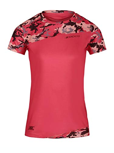 BODYCROSS T-Shirt Manches Courtes Col Rond Femme Ryane Rose Fluo Camo Running, Trail, Training en Polyester - Respirant, Couture Thermocollée sur Poitrine