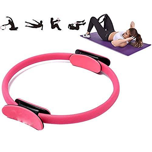 TWTW Anillo de Pilates, Anillo de Yoga Pilates de Doble asa, círculo de Entrenamiento de Pilates de 15 Pulgadas, Anillo de Resistencia de Doble asa para tonificar y fortalecerpink