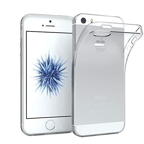 EAZY CASE Hülle kompatibel mit Apple iPhone 5 / 5S / SE (2016) Schutzhülle Silikon, Ultra dünn Slimcover, Handyhülle, Silikonhülle, Backcover, Transparent/Durchsichtig, Transparent