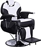 BarberPub Heavy Duty Reclining Barber Chair All Purpose Hydraulic Salon Chair for Barbershop Stylist Tattoo Chair 2687 (Black-White)