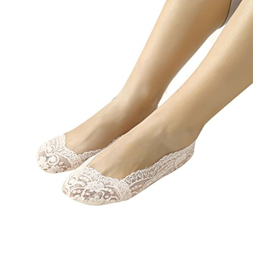 teng hong hui 1 par Muchachas de Las Mujeres de Verano de Encaje Antideslizante Invisible escotada del calcetín Corto No Hay Calcetines escotados