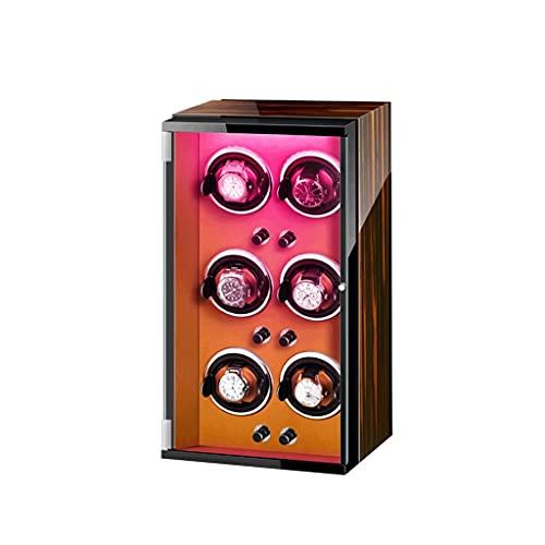 Reloj Winder LEDSeven Color para con caja de motor súper silenciosa caja de almacenamiento de lujo de madera para 6 relojes de pulsera
