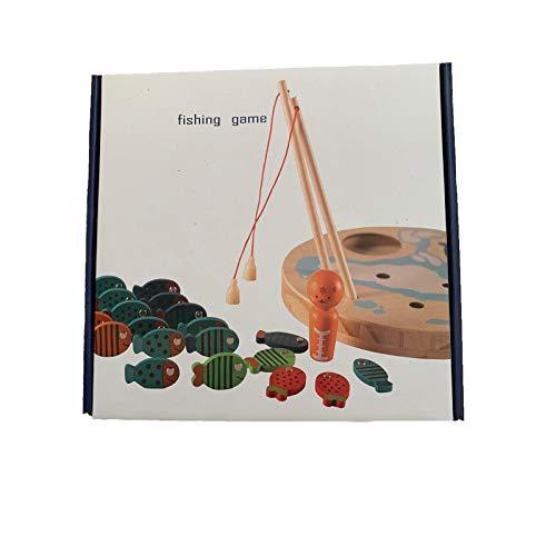 Juguete Educativo, Juego de Pesca 2 en 1, 30 Piezas de Madera, Letras magnéticas del Alfabeto, Juguete de Pesca para niños, Juguetes y Pasatiempos (como se Muestra)
