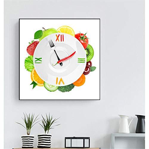 Cuadros de la pared Cartel creativo de la fruta Clovek Fresa Vegetal Tiempo Cuadros de la pared para la sala de estar Decoración de la cocina Arte de la pared Pintura de la lona-50x50__CM_Unframed