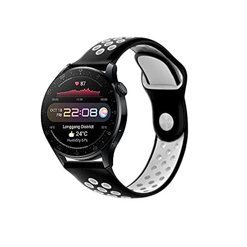 PaceBid Correa Compatible con Huawei Watch 3 Pro, Impermeable Ajustable Silicona Reloj de Recambio Brazalete Correas,Suave, Transpirable, Resistente Banda para Huawei Watch 3 Pro- (Black-White)