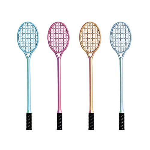 Yisily 4 Stück Neuheit Niedlich Badmintonschläger geformt Gel Ink Pen Entzückende Tennis Schläger Kugelschreiber 05 mm Fine Point Kreatives Schreiben Werkzeuge