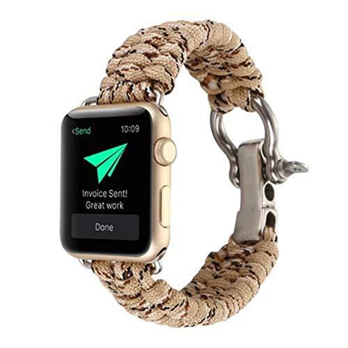 Nylon-Seilriemen Anwenden für Apple-Uhr-Band-Apfeluhr 44mm 42mm 38mm 40mm iWatch Survival Outdoor-Armband Apple-Uhr-Serie 5 4 3 (Band Color : Camouflage 4, Band Width : 42mm 44mm)