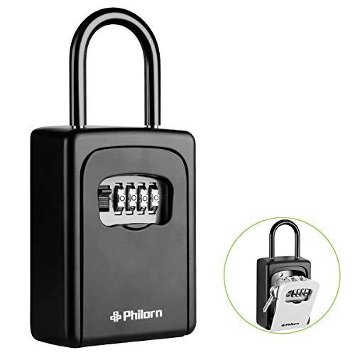 Philorn Schlüsseltresor mit Bügel, Tragbare Schlüsselsafe mit Zahlencode Außen | Rücksetzbarer Code - Wetterfest - Hängend & Wand Befestigung | Top Sicherheit, Ultra-Robustes 4-Stellige Schlüsselbox