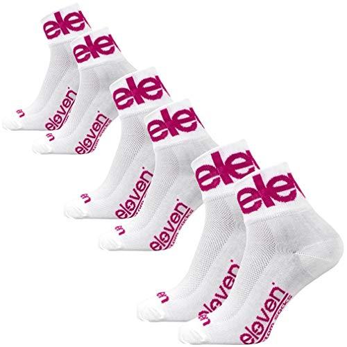 Eleven 3 Paar Funktionelle Sportsocken für Radfahren, Laufen, Indoor-Sport und Outdoor-Sport   Kurze Socken Bunt   Howa (Two Violet White, L (EU 42-45))