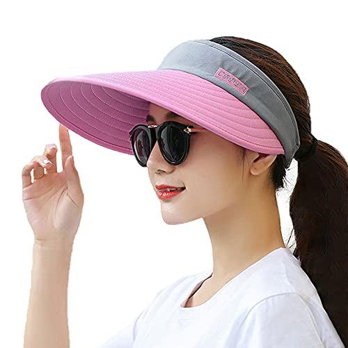 Visor Hats for Women Wide Brim Sun Visors Adjustable UV Protection Golf Visor Packable Pink