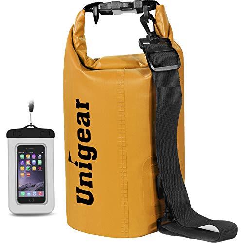 Unigear Bolsa impermeable con bolsillo para teléfono móvil y correas para barco, kayak, pesca, rafting, natación, camping y snowboard, 30 l, color naranja, 30 l