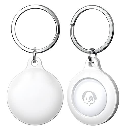 (2 Pack) Auyuiiy Schutzhülle für Airtag 2021, Silikon-Trackerhalter mit tragbarer Schutzhülle für Airtag Einfache Befestigung an Schlüsseln, Rucksäcken & Liner-Taschen(Weiß)