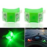 Botepon 2Pcs Boat Kayak Battery Navigation Lights Safety Lights Boat Bow Lights Stern Lights Bike Lights Pet Lights Night Running Lights with 3 Modes (Green)