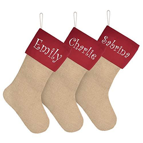 ElegantPark Personalizado Calcetín navideño Celebración de días Festivos Decoración de Regalo Arpillera Brazalete Rojo Bricolaje Accesorios de Decoración de Chimenea de Navidad Grande 3 Piezas