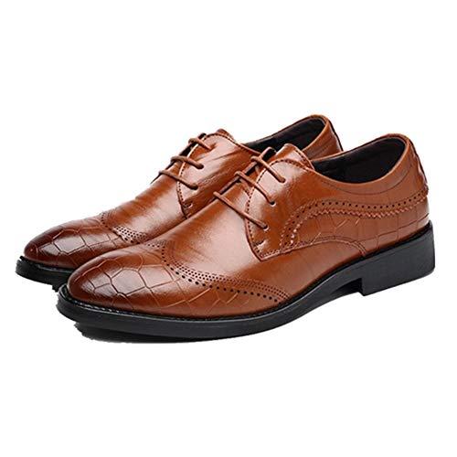 CHENTAOCS Business Oxfords voor mannen formele jurk schoenen koord bovenaan plaid geperste kant teen-echt leer met lage hak 41 EU bruin