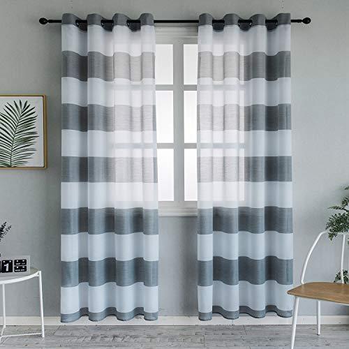 Topfinel Voile Vorhänge mit Ösen Streifen Transparent Gardinen Schlaufenschal für Wohnzimmer Schlafzimmer Kinderzimmer 2er Set je 220x140cm (HxB) Hellgrau