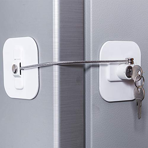 Fridge Lock,Refrigerator Locks,Freezer Lock with Key for Child Safety,Locks to Lock Fridge and Cabinets (White Fridge Lock-1Pack)