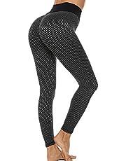 GLESTORE Hög midja yogabyxor kvinnors rumplyft sexiga leggings Booty Scrunch tjock magkontroll elastisk gym tights för träning löpning