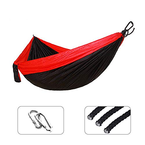 BGPOM Hammock Single Double Nylon Bed Durable Ultra-Light Bed Swing Outdoor Camping Travel 2 Persons With Carry Bag-Black And Red