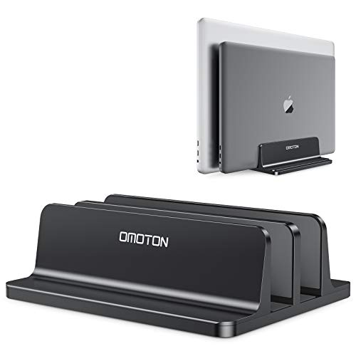 OMOTON platzsparend Laptopstander Verstellbarer vertikaler Alulegierung Laptop Stander fur alle Tablets und 10 173 Zoll Laptops zB MacBook Lenovo Dell und mehr Geeignet fur 2 Laptops Schwarz