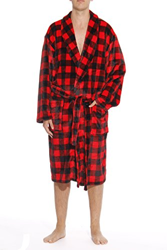 #followme 46903-1A-M Printed Plaid Velour Flannel Robe Robes for Men Red/Black