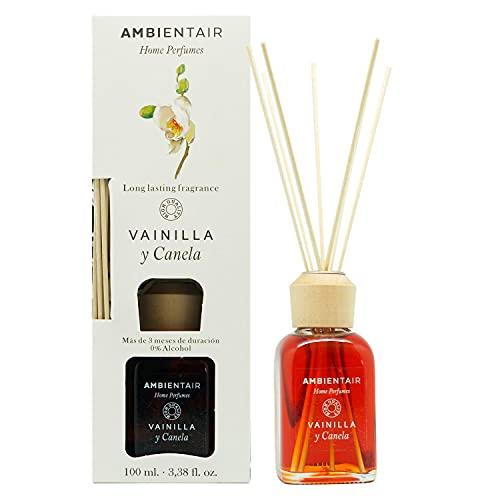 Ambientair Home Perfumes. Difusor de Varillas perfumadas Aroma Vainilla y Canela. Ambientador Mikado Aroma Vainilla y Canela. Difusor 100 ml con palitos de ratán. Ambientador sin Alcohol para casa.