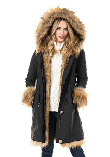 Donna Salyers' Fabulous-Furs Black Hooded Faux Leopard Fur-Lined Knee-Length Coat (XS) (Black/Leopard)