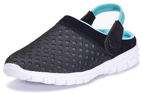 Zapatillas de Jardin Mujer Sandalias de Playa Hombre Zuecos de Sanitarios Zapatillas Ligeros Respirable Zapatos Verano,Negro Azul,EU 38