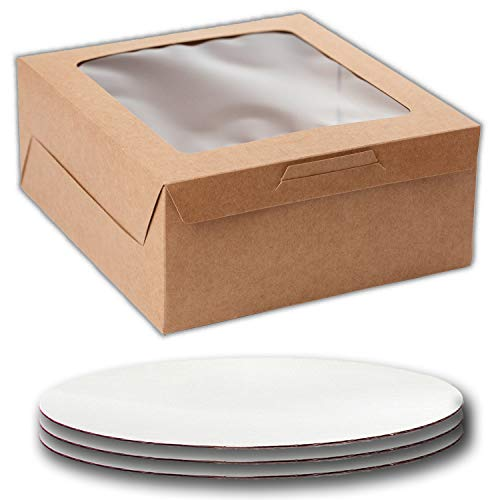 Cake Boxes 10 x 10 x 5 And Cake Boards (White) 10 Inch, Bakery Box Has a Clear Window, Color Brown, Cake Board is round, Cake Supplies, 10 Pack of Each.