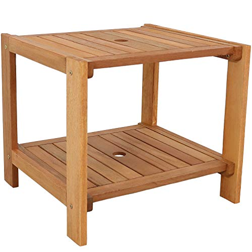 Sunnydaze Meranti Wood Outdoor Side Table with Teak Oil Finish - Outside Wooden Accent Furniture for Patio, Balcony Porch, Deck, Garden and Backyard - 20-Inch