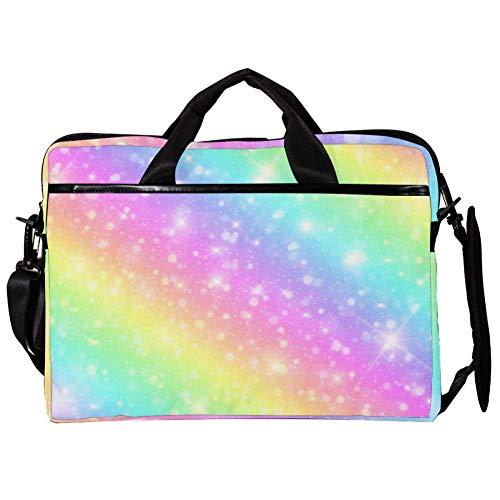 EZIOLY Rainbow Sparkle Background 14 Inch15 Inch Laptop Shoulder Messenger Bag Crossbody Briefcase Messenger Sleeve for 13 Inch to 14 inch Laptop