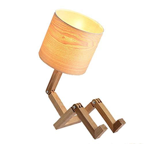 Moderne E27 massivholz klapptisch lampe DIY roboter modellierung nachttischlampe AC110-240V tuch lampenschirm