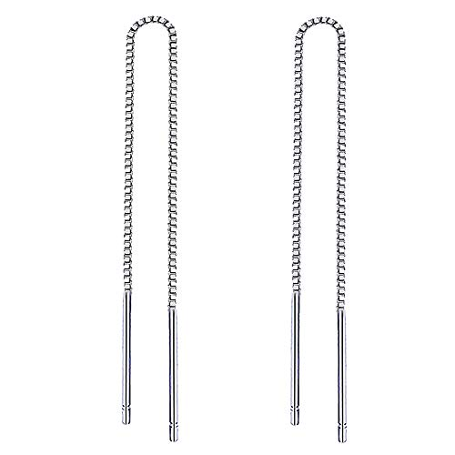 Yaneno 925 Sterling Silver Needle Bar Threader Pull Through Chain Drop Dangle Earrings for Women (4.72)