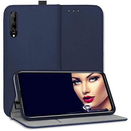 mtb more energy Funda Bookstyle para Huawei P Smart Pro 2019 (6.59'') - Azul - Cuero sintético - Carcasa Estuche Wallet Case Cover