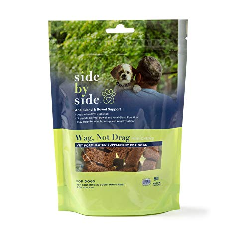 Side By Side - Dog and Cat Anal Gland & Bowel Support Supplement   Wag  Not Drag - No Artificial Ingredients  Provides Enzymes - Neutral Recipe - 3.93oz (20 Chews)