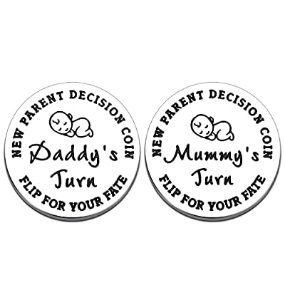 Fun New Parents Decision Coin, Baby Shower Gifts for Mom Dad to Be Girls Boys Newborn New Baby Gift Pregnancy Gift First Time Mom Dad Birthday Mothers Fathers Day Christmas Thanksgiving, Double Sided from Raddimelo