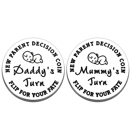 Fun New Parents Decision Coin, Baby Shower Gifts for Mom Dad to Be Girls Boys Newborn New Baby Gift Pregnancy Gift First Time Mom Dad Birthday Mothers Fathers Day Christmas Thanksgiving, Double Sided